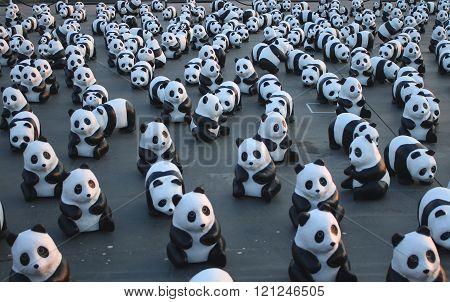 1600 Pandas+ TH, Paper mache Pandas to represent 1,600 Pandas