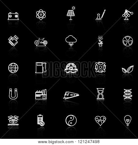 Renewable energy line icons with reflect on black stock vector