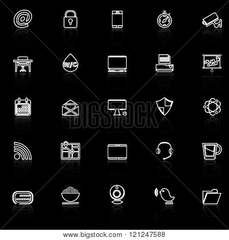 Internet cafe line icons with reflect on black stock vector