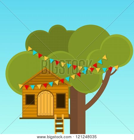 Tree House Childrens Games. Playhouse On The Tree. Secret Place.