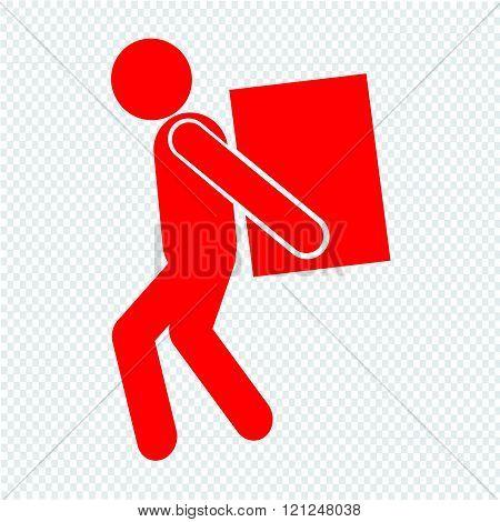 Man Moving Box Pictogram Icon Illustration Design