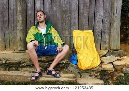 Man Sitting On Logs, Village House Wooden Wall, Travel Rest