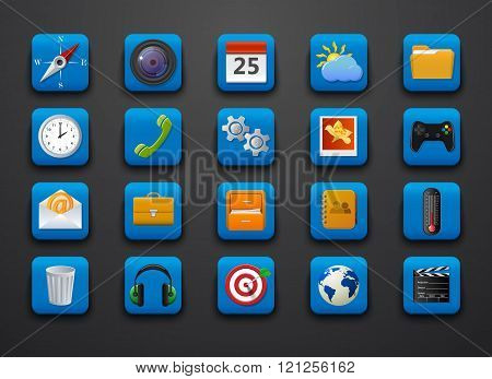 Different symbol icons on blue