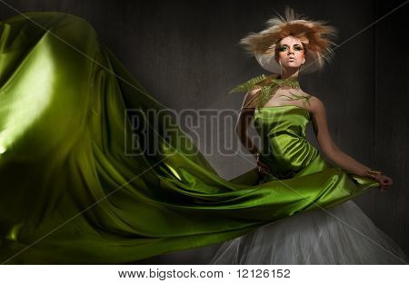Young blond lady posing