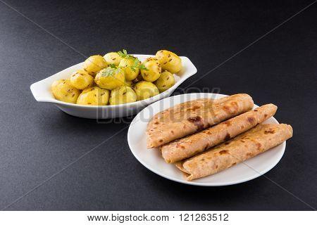 dray potato curry or potato bhaji or aalu bhaji and chapati