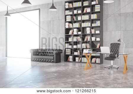 Loft Room With Chesterfield Sofa, Bookshelf, Glassy Table, Big Window And Concrete Floor, 3D Render