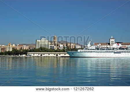Cruise ship along Malaga waterfront.