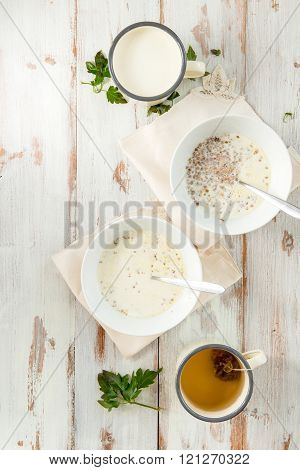 Table set for Breakfast. Buckwheat Porridge