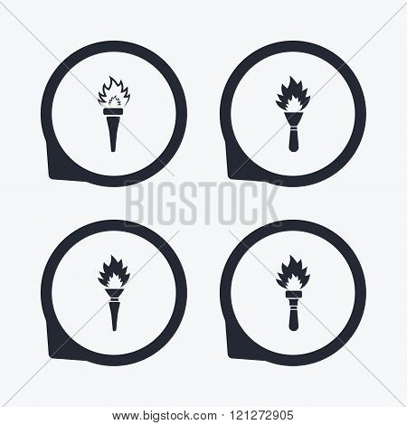 Torch flame icons. Fire flaming symbols.