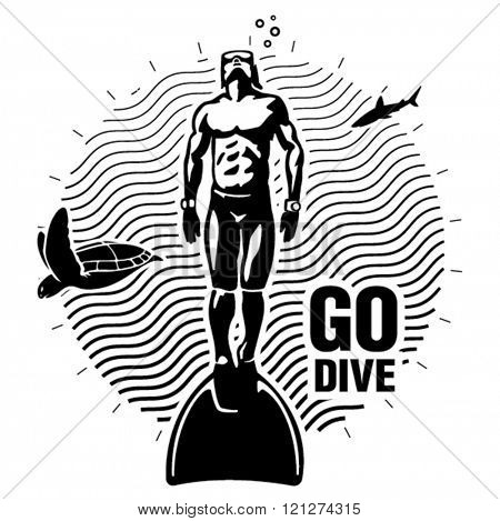 Freediver under water with monofin. Illustration in the engraving style