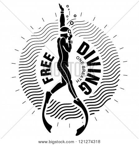 Diving club label. Illustration in the engraving style