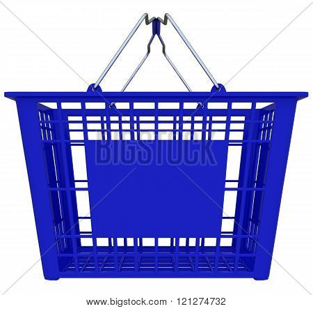 Blue Shopping Basket Isolated Over White Background