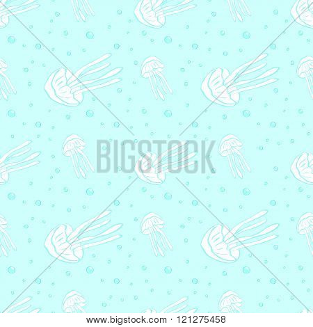 Jellyfish seamless vector pattern.
