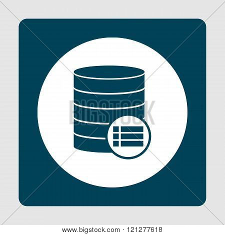 Database-details Icon, On White Circle Background Surrounded By Blue poster