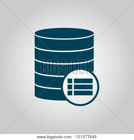 Database-details Icon, On Grey Background, Blue Outline, Large Size Symbol poster
