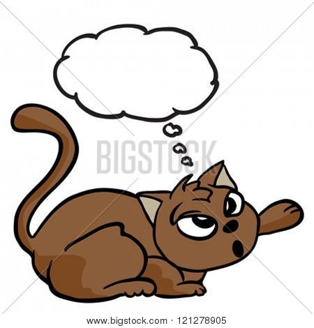 cat with thought bubble cartoon