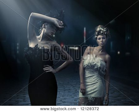 Vogue style photo of a two fashion ladies over city background