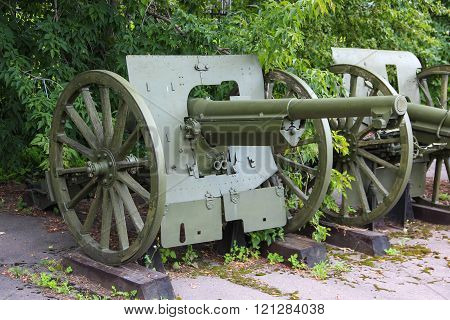 MOSCOW, RUSSIA - Jul 19 2015, 75 mm military cannon of 1897 (the trophy of the red army during the w