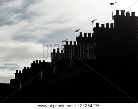 Silouette of Roof and chimneys in Belfast