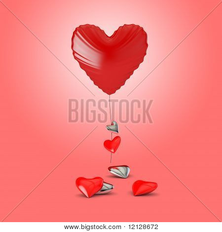 Heart Shaped Balloon With Small Hearts On A Pink Background