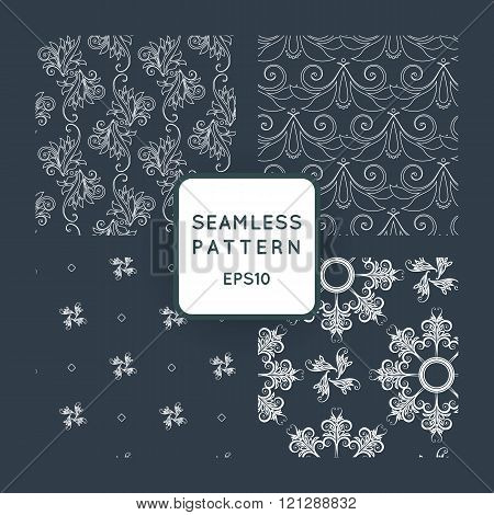 Set of vector seamless pattern with floral motifs, twisted vines. Vintage. Baroque, Rococo.
