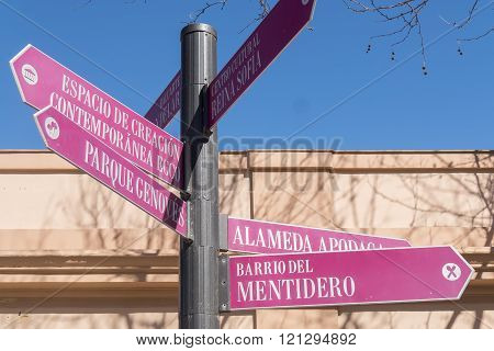 Street signs in the city of Cadiz Andalusia Spain