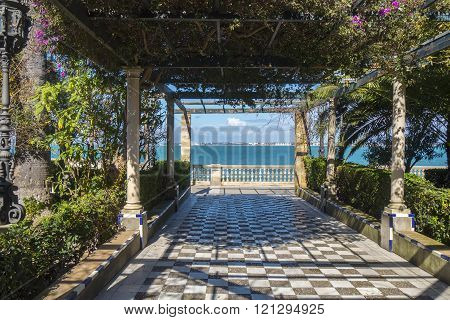 Park on the boardwalk of Cadiz Genoves Park Andalusia Spain