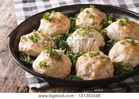Dietary Chicken Rissoles With Parsley Close-up. Horizontal