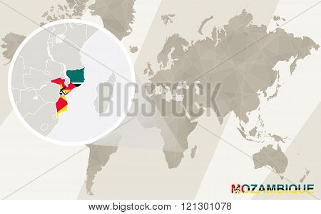 Zoom On Mozambique Map And Flag. World Map.