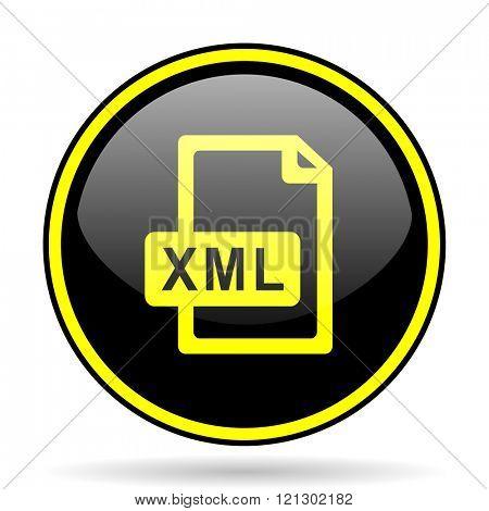 xml file black and yellow modern glossy web icon