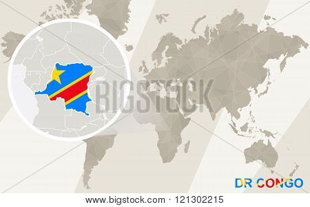 Zoom On Dr Congo Map And Flag. World Map.