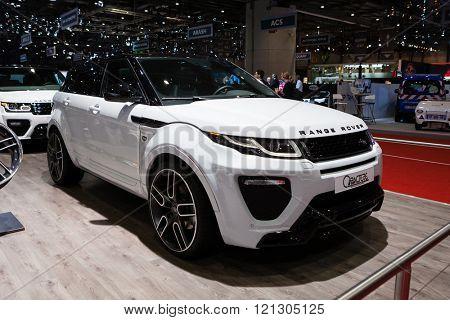 GENEVA, SWITZERLAND - MARCH 1: Geneva Motor Show on March 1, 2016 in Geneva, Caractere Range Rover Evoque, side-front view