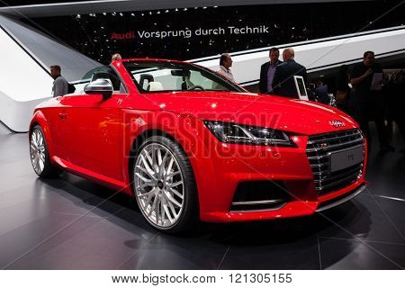 GENEVA, SWITZERLAND - MARCH 1: Geneva Motor Show on March 1, 2016 in Geneva, Audi TTS Roadster, front-side view
