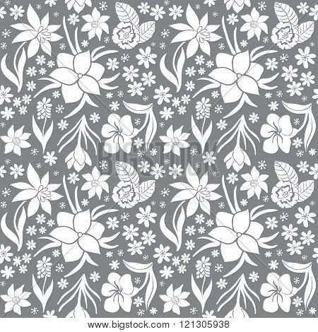 Seamless monochrome vector pattern with spring flowers.Floral patten. Vector flowers pattern. Black and white