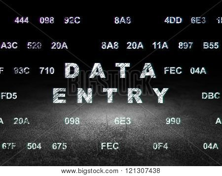 Data concept: Glowing text Data Entry in grunge dark room with Dirty Floor, black background with Hexadecimal Code poster