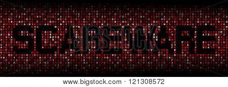 Scareware text on hex code illustration