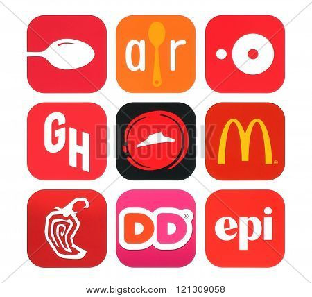 Collection of popular food icons
