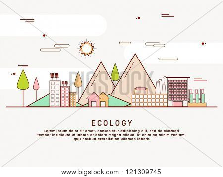 One page web design template with thin line icons of planet ecology environment, city environmental pollution, green earth conservation. Flat design graphic hero image concept, website elements layout poster
