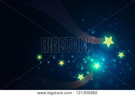 glittering stars on bokeh background vector illustration