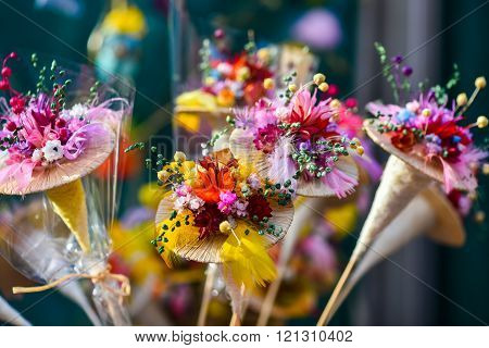 Made-up flowers in handicraft mart