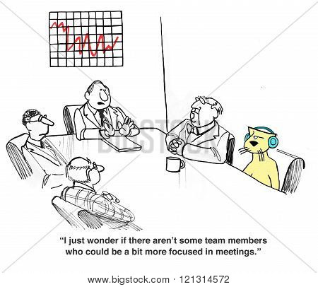 Business cartoon about rude behavior in a meeting.