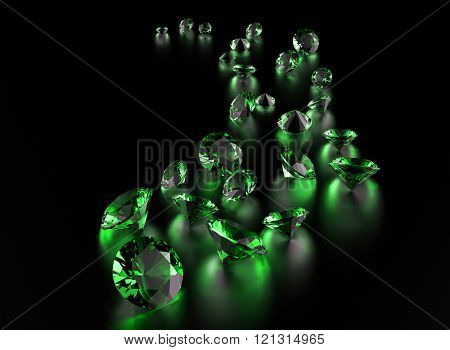 Gemstone on black . Jewelry background/ Peridot