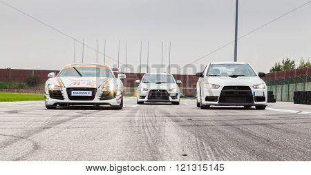 Audi R8 and Two Mitsubishi EVO 10