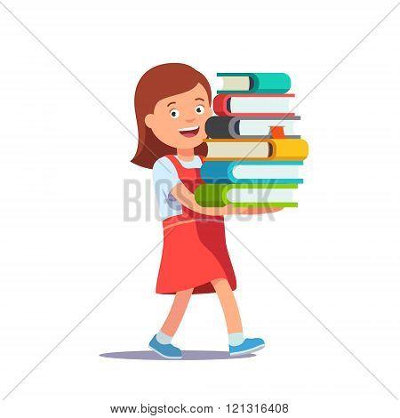 Cute school girl carrying big pile of books
