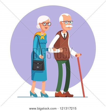 Senior lady and gentleman walking together