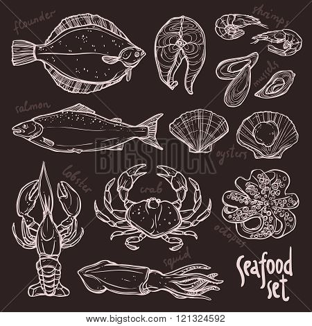Sketch seafood collection, hand drawn illustration with lobster, squid, salmon, flounder, crab, octopus, mussels, oysters and shrimps on blackboard