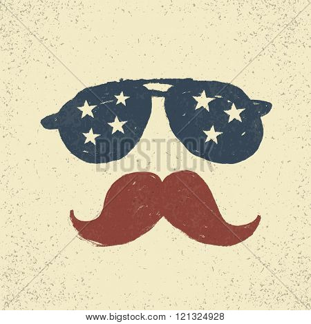 Sunglasses with stars and moustache. Tee print design