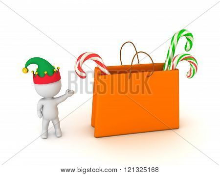 3D Character With Elf Hat Showing Gift Bag With Colorful Candy Canes