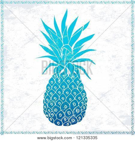 Vector Vintage pink pineapple