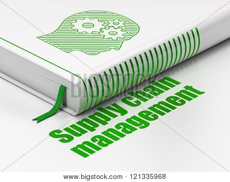 Marketing concept: book Head With Gears, Supply Chain Management on white background
